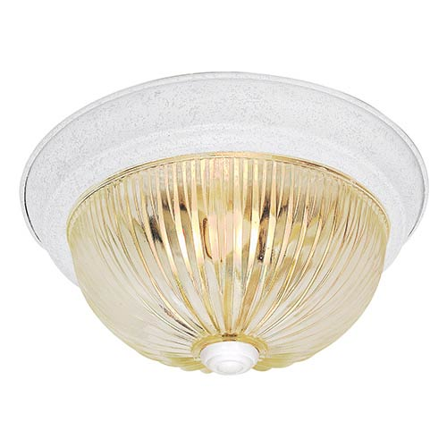 Nuvo Lighting Textured White Two-Light 13-Inch Wide Flush Mount with Clear Ribbed Glass