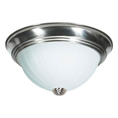 Brushed Nickel Three-Light 15-Inch Wide Flush Mount with Frosted Melon Glass