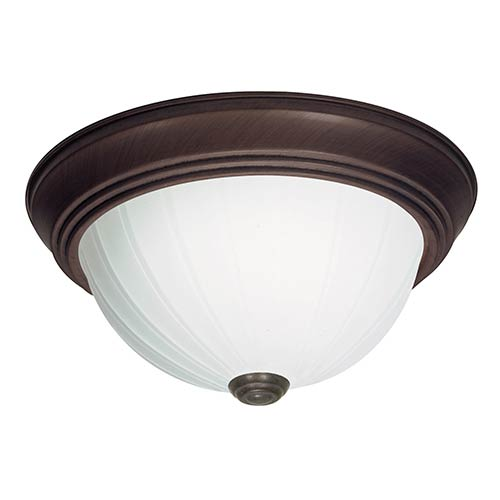Old Bronze Three-Light 15-Inch Wide Flush Mount with Frosted Melon Glass