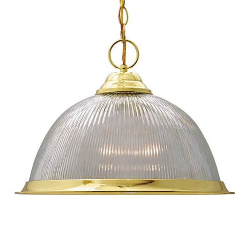 Polished Brass One-Light 15-Inch Wide Dome Pendant with Prismatic Glass Done