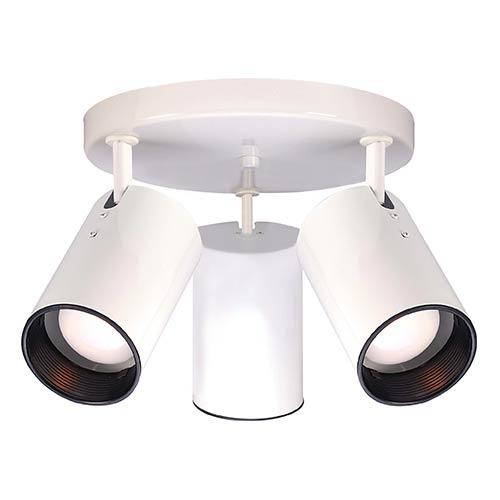 Nuvo Lighting White Three-Light R20 Straight Cylinder Semi-Flush with White Aluminum