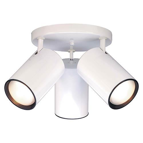 White Three-Light R30 Straight Cylinder Semi-Flush with White Aluminum