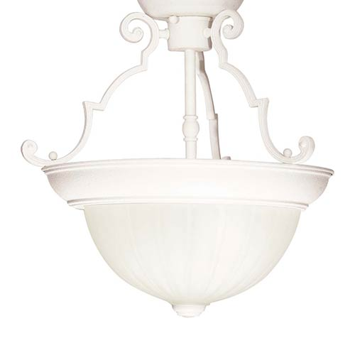 Textured White Two-Light 13-Inch Wide Semi-Flush with Frosted Melon Glass