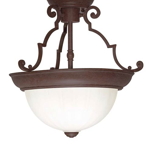 Nuvo Lighting Old Bronze Two-Light 13-Inch Wide Semi-Flush with Frosted Melon Glass