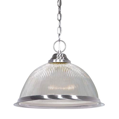Brushed Nickel One-Light 15-Inch Wide Dome Pendant with Clear Prismatic Glass