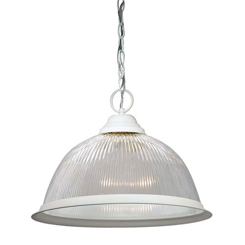 Nuvo Lighting Textured White One-Light 15-Inch Wide Dome Pendant with Clear Prismatic Glass