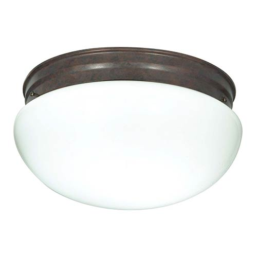 Nuvo Lighting Old Bronze Two-Light Flush Mount with Large White Mushroom Glass