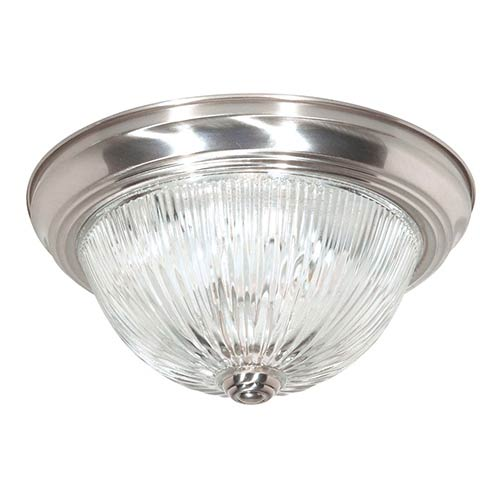 Nuvo Lighting Brushed Nickel Three-Light 15-Inch Wide Flush Mount with Clear Glass