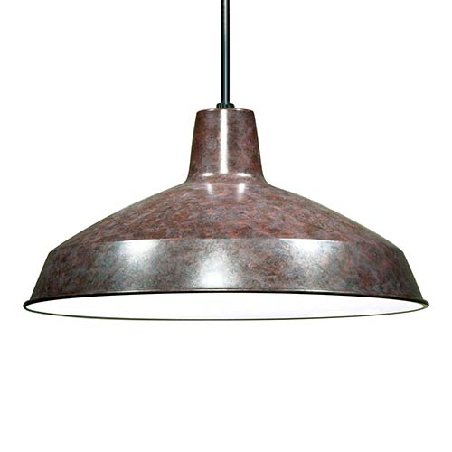 Old Bronze One-Light Dome Pendant with Warehouse Shade
