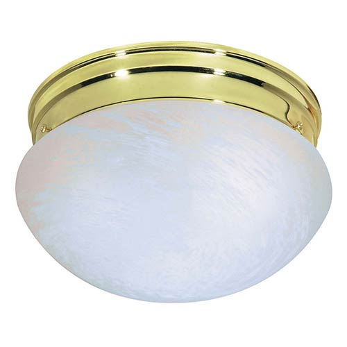 Nuvo Lighting Polished Brass Two-Light Flush Mount with Medium Alabaster Mushroom Glass