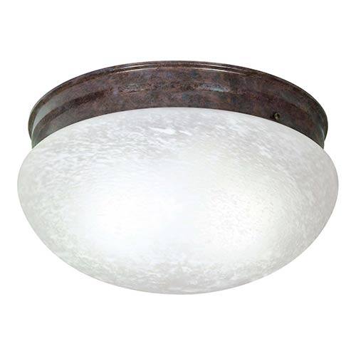 Nuvo Lighting Old Bronze Two-Light Flush Mount with Large Alabaster Mushroom Glass