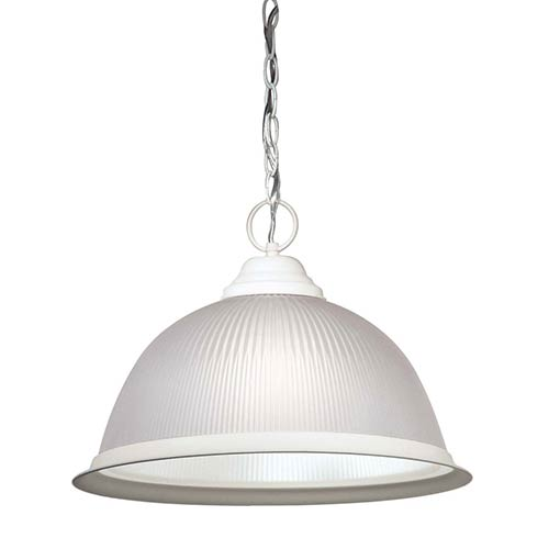 Nuvo Lighting Textured White One-Light Dome Pendant with Frosted Prismatic Glass