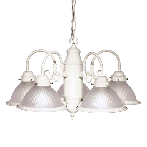 Nuvo Lighting Textured White Five-Light Chandelier with Frosted Ribbed Glass