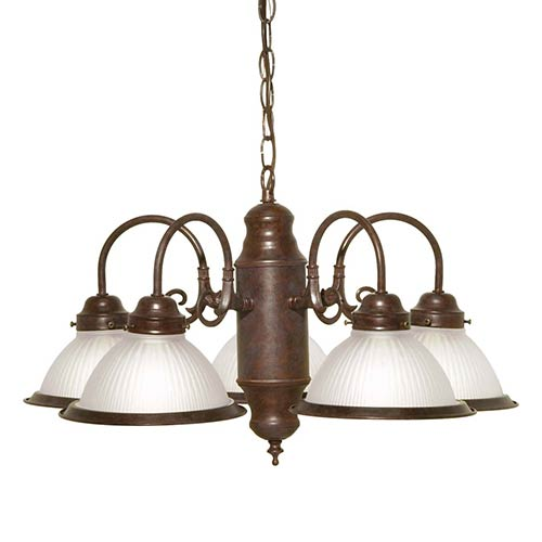 Nuvo Lighting Old Bronze Five-Light Chandelier with Frosted Ribbed Glass