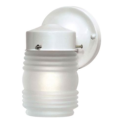 Nuvo Lighting Gloss White One-Light Outdoor Wall Sconce with Frosted Glass Mason Jar