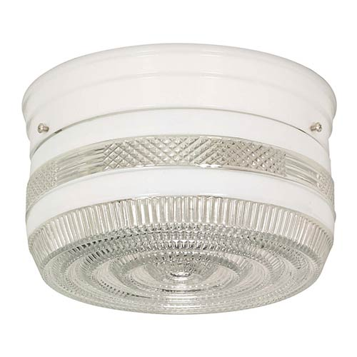 Nuvo Lighting White Two-Light Flush Mount with Medium Crystal and White Drum