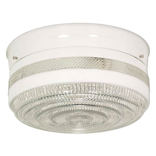 Nuvo Lighting White Two-Light Flush Mount with Large Crystal and White Drum