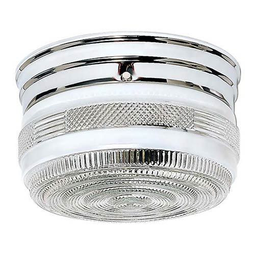 Nuvo Lighting Polished Chrome Two-Light Flush Mount with Medium Crystal and White Drum