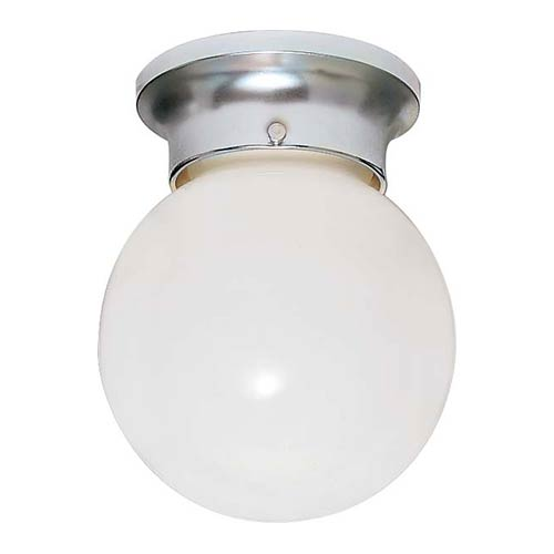 Nuvo Lighting Polished Chrome One-Light 6-Inch Wide Flush Mount with White Glass Ball