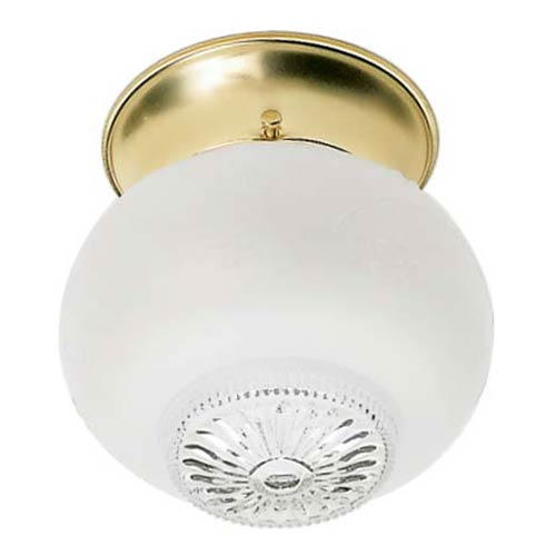 Nuvo Lighting Polished Brass One-Light Flush Mount with Clear Bottom Frosted Squat Glass Ball