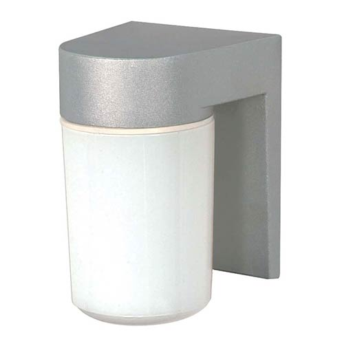 Nuvo Lighting Satin Aluminum One-Light Outdoor Utility Wall Sconce with White Cylindrical Glass