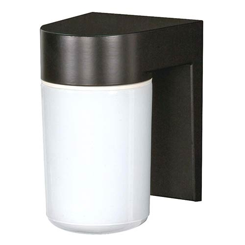 Nuvo Lighting Black One-Light Outdoor Utility Wall Sconce with White Cylindrical Glass
