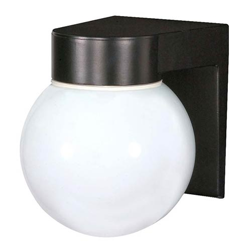 Nuvo Lighting Black One-Light Outdoor Utility Wall Sconce with White Globe Glass