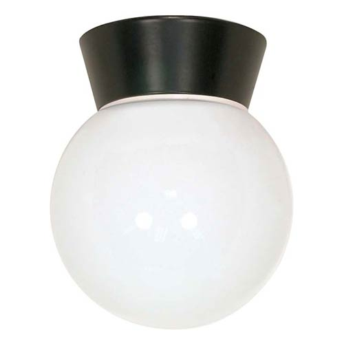 Nuvo Lighting Bronzotic One-Light Outdoor Utility Flush Mount with White Globe Glass