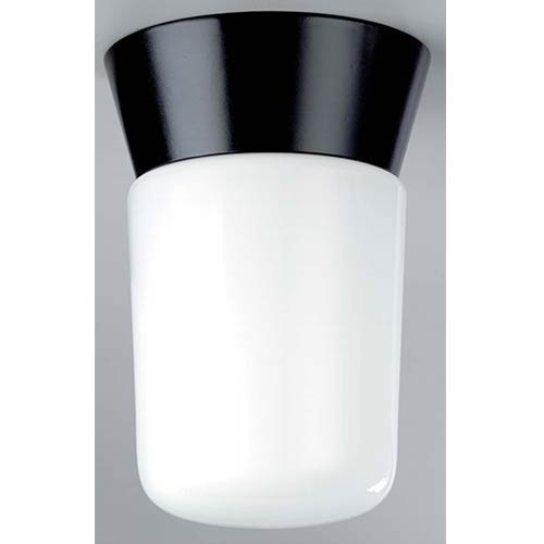 Nuvo Lighting Black One-Light Outdoor Utility Flush Mount with White Cylinder Glass