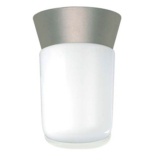 Nuvo Lighting Satin Aluminum One-Light Outdoor Utility Flush Mount with White Cylinder Glass