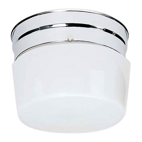 Nuvo Lighting Polished Chrome One-Light Flush Mount with Small White Glass Drum