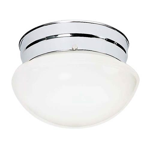 Nuvo Lighting Polished Chrome One-Light Flush Mount with Small White Mushroom Glass