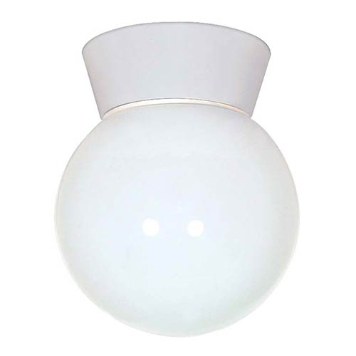 Nuvo Lighting White One-Light Outdoor Utility Flush Mount with White Globe Glass