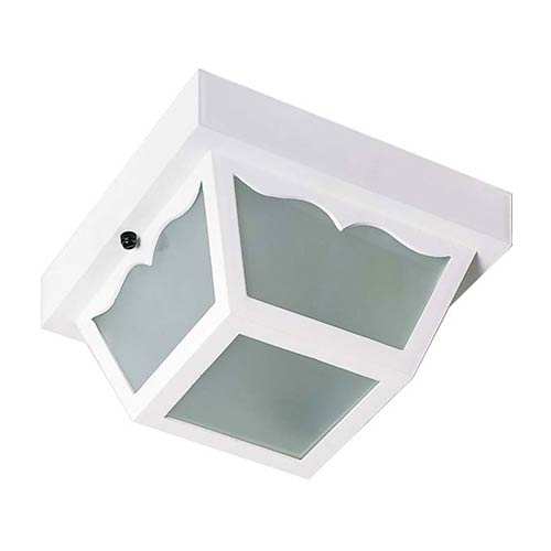 Nuvo Lighting White One-Light 8-Inch Wide Outdoor Carport Flush Mount with Frosted Acrylic Panel