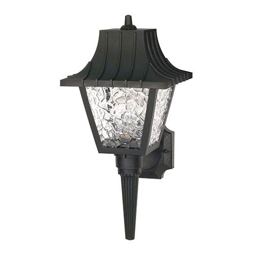 Nuvo Lighting Black One-Light Outdoor Mansard Lantern with Textured Acrylic Panel