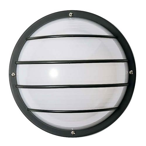 Nuvo Lighting Black One-Light Outdoor Round Cage Wall Sconce with Polysynthetic Body and Lens