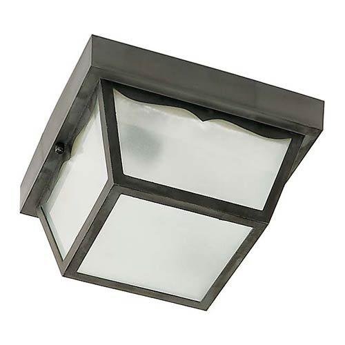 Nuvo Lighting Black One-Light 8-Inch Wide Outdoor Carport Flush Mount with Frosted Acrylic Panel