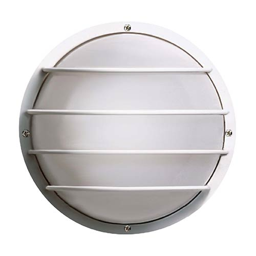 Black Two-Light Outdoor Round Cage Fluorescent Wall Sconce with White Polysynthetic