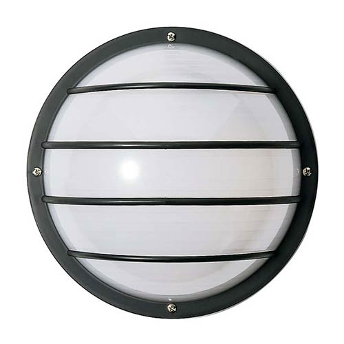White Two-Light Outdoor Round Cage Fluorescent Wall Sconce with White Polysynthetic