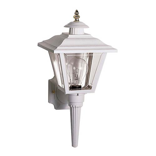 Nuvo Lighting White One-Light Outdoor Coach Lantern with Brass Trim Acrylic Panel