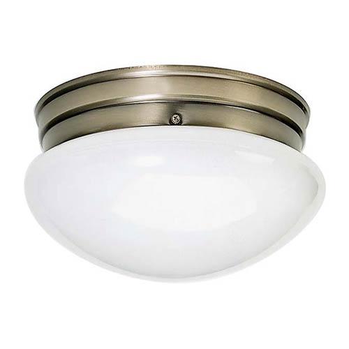 Nuvo Lighting Antique Brass Two-Light Flush Mount with Medium White Mushroom Glass