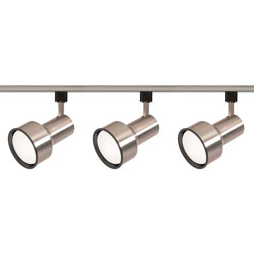 Brushed Nickel Three-Light R30 Step Cylindrical Track Kit