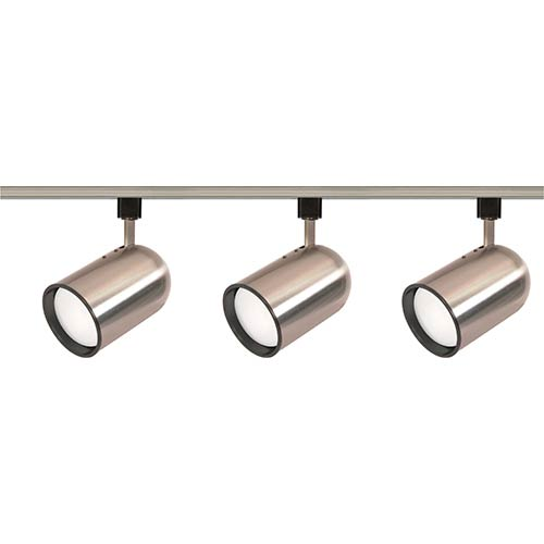 Brushed Nickel Three-Light R30 Bullet Cylindrical Track Kit