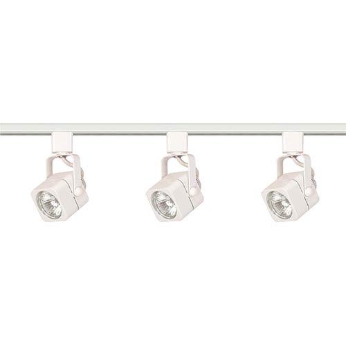 White Three-Light Line Voltage Square Track Kit