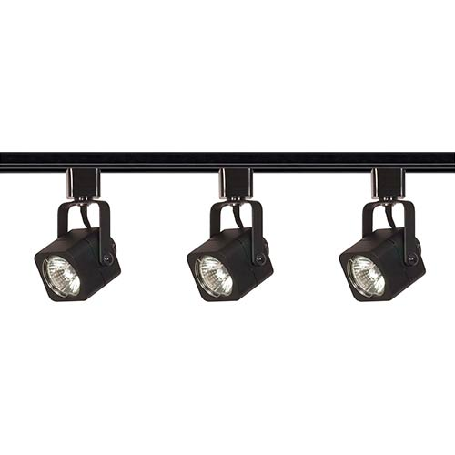 Nuvo Lighting Black Three-Light Line Voltage Square Track Kit