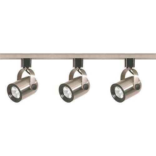 Brushed Nickel Three-Light Line Voltage Round Back Track Kit