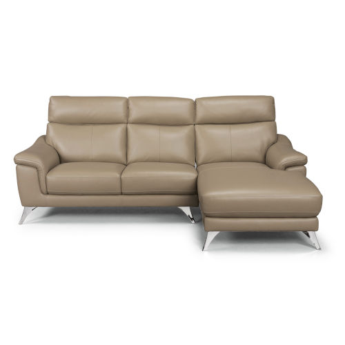 Beige Upholstered Chaise Sofa