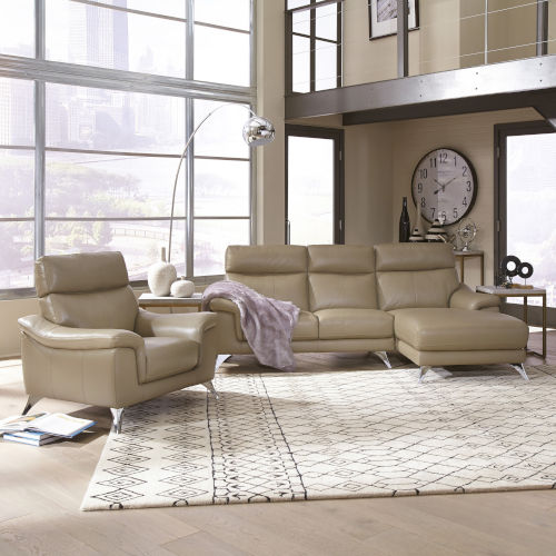 Beige Upholstered Chaise Sofa and Chair