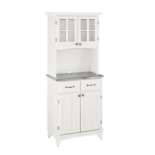 Home Styles Furniture White Buffet with Two Door Hutch and Stainless Top