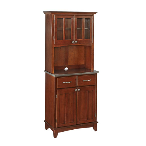 Home Styles Furniture Buffet of Buffet with Stainless Top and Hutch
